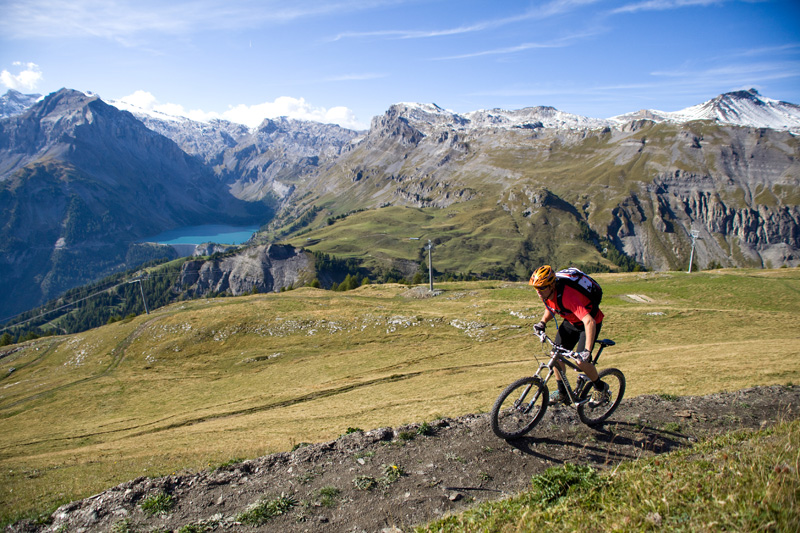 Downhill mountain bike trail in Crans-Montana
